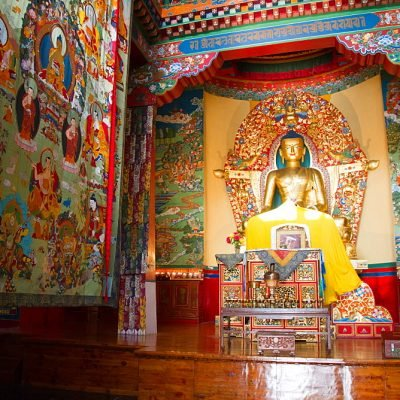 The Buddhist temple of the Norbulingka Tibetan institute of Tibetan arts and culture, Dharamsala, India